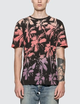 Saint Laurent Dip Dye Palm Print T-shirt