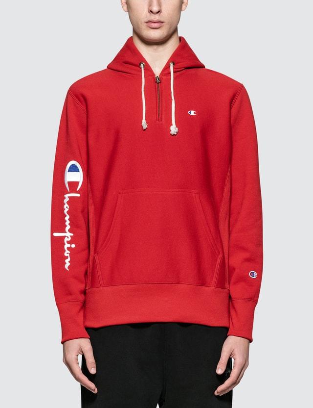 Champion Reverse Weave Sleeve Logo Half Zip Hoodie