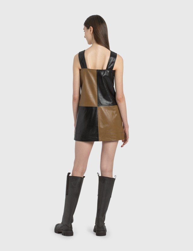 Ganni Lamb Leather Strap Dress
