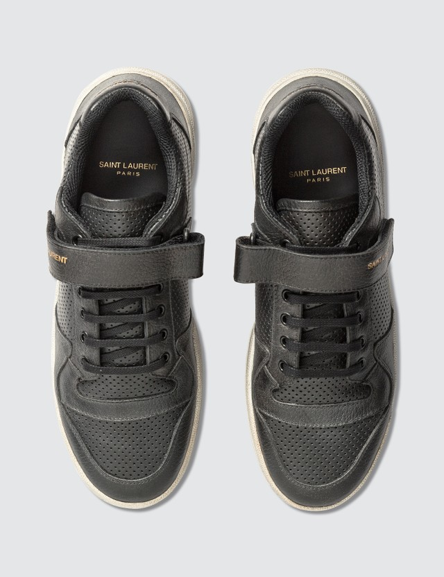 Saint Laurent SL24 Sneaker In Used-Look Leather Black Men