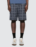 JW Anderson Elasticated Waistband Logo Grid Cotton Shorts Picutre