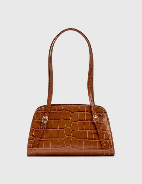 By Far Lora Tan Croco Embossed Leather Shoulder Bag