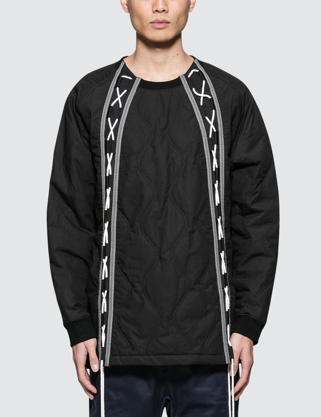 White Mountaineering Primaloft Quilted Laces Up Sweater