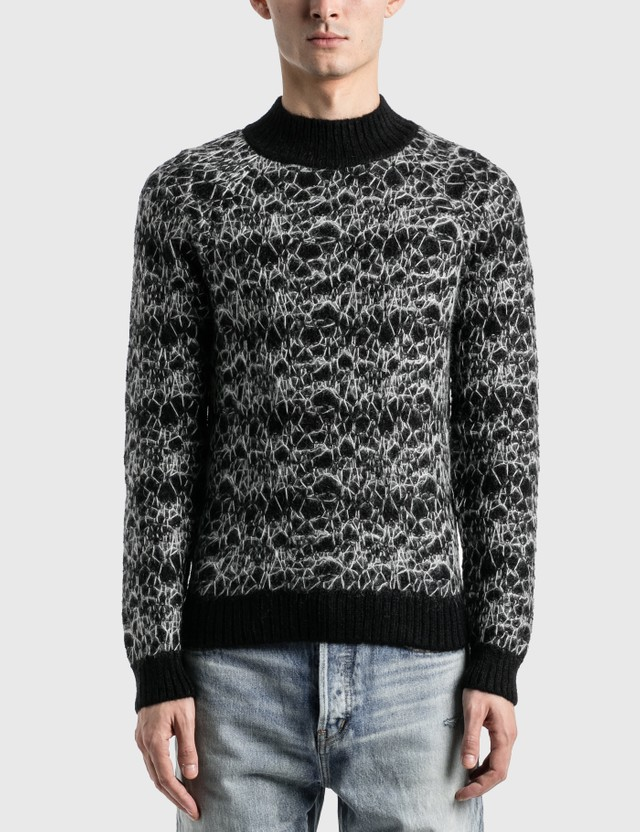 Saint Laurent Wool Spider-Web Jacquard Sweater Noir/naturel/gris Men