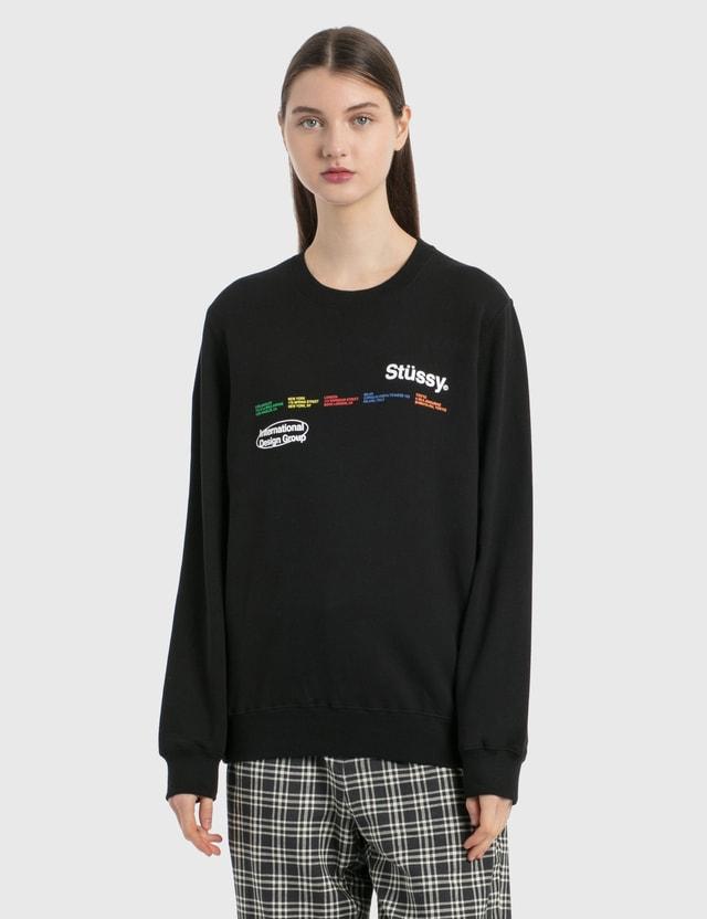 Stussy City Banners Crew Sweatshirt Black Women
