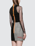 Heron Preston Strass Mesh Leather Dress