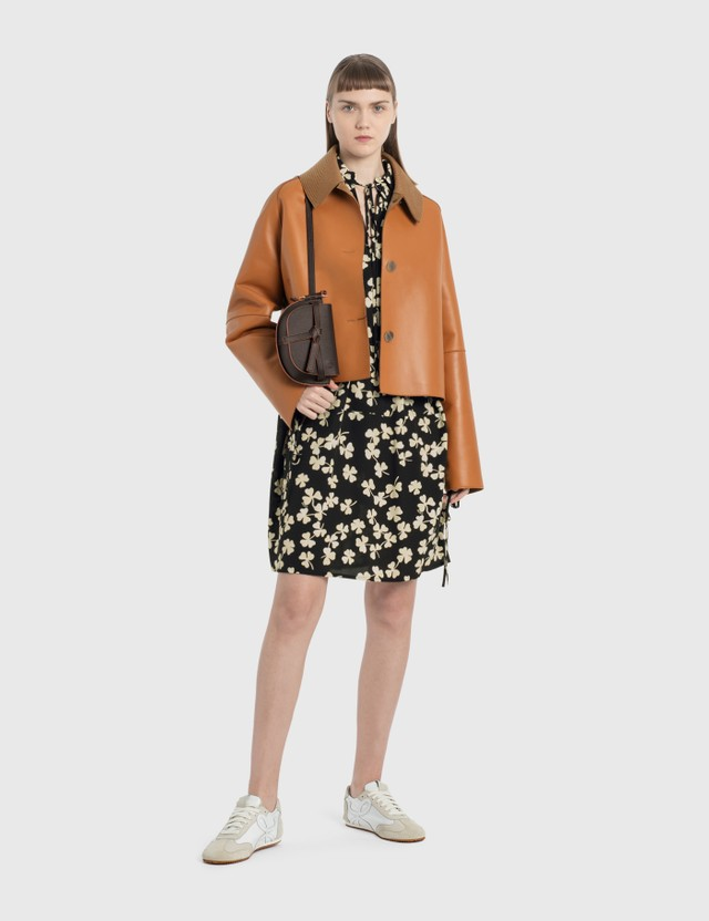 Loewe Shamrock Peasant Mini Dress Black/ivory Women