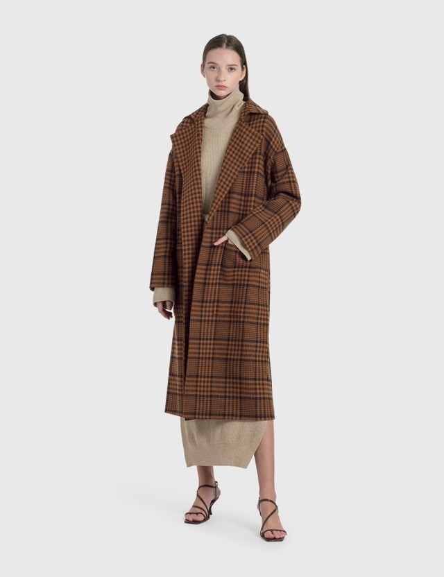 Nanushka Alamo Coat Navy Rust Check Women