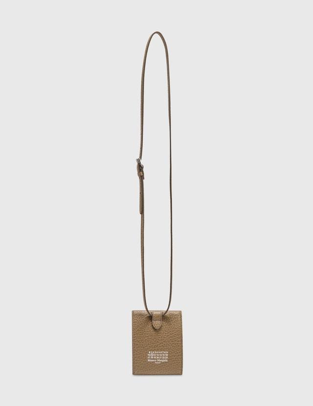 Maison Margiela Grainy Leather Card Holder With Strap Camel Women
