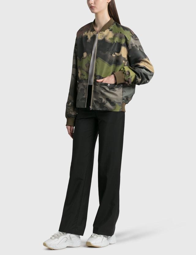 Maison Kitsune Zipped Teddy Khaki Print Women