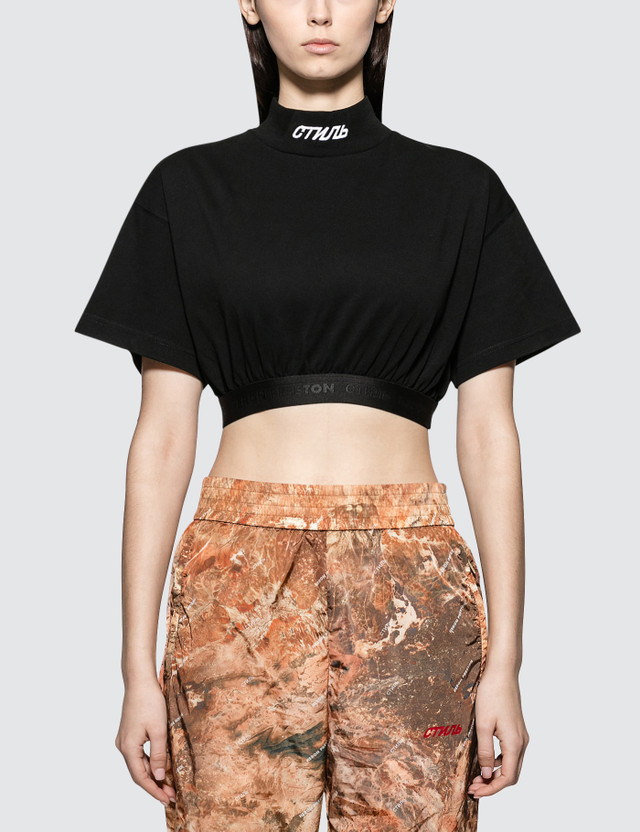 Heron Preston Crop Turtleneck Short Sleeve T-shirt