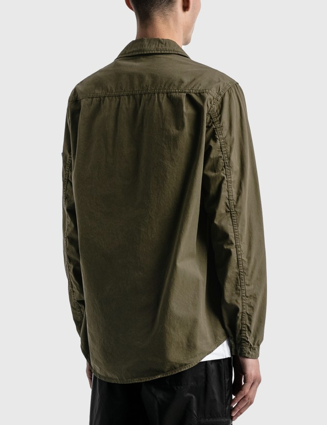Stone Island Double Pocket Button Over Shirt Olive  Men