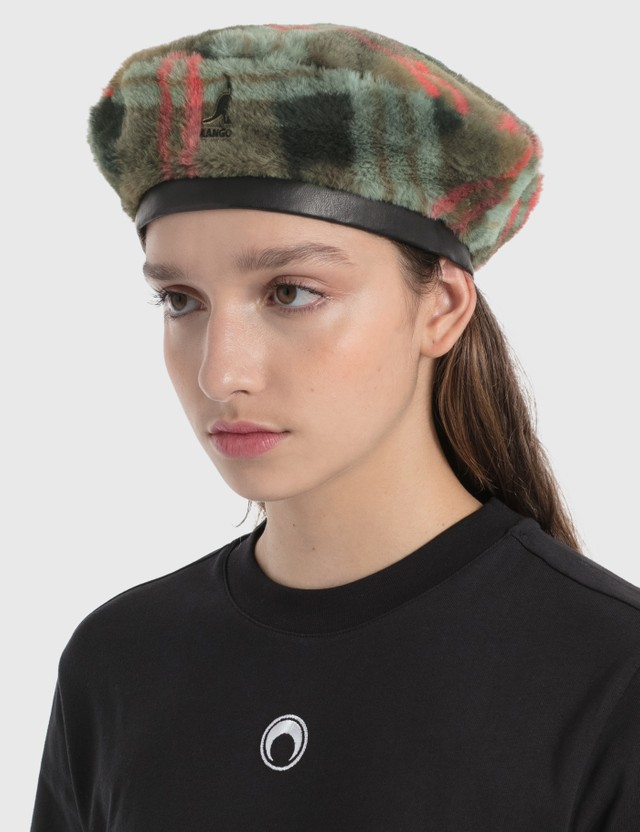 Kangol Faux Fur Beret Taupe Plaid Women