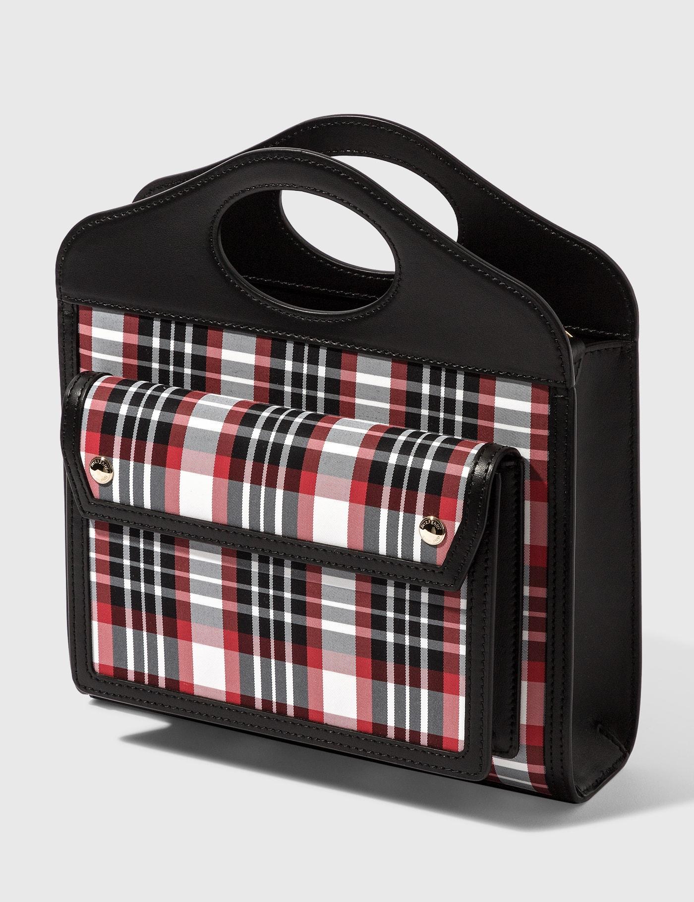 Burberry MINI TARTAN NYLON AND LEATHER POCKET BAG