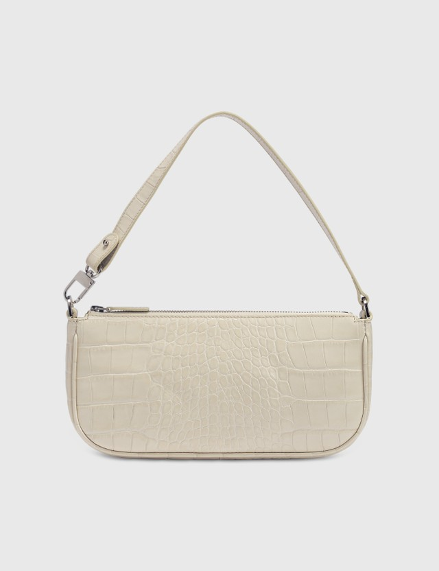 BY FAR Rachel Croco Embossed Leather Bag Cream Women