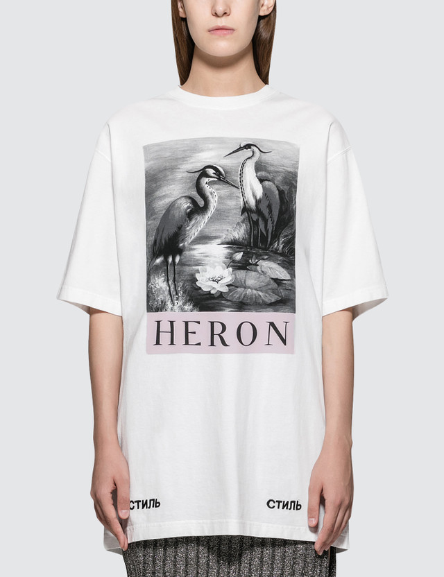 Heron Preston Black and White Herons Short Sleeve T-Shirt