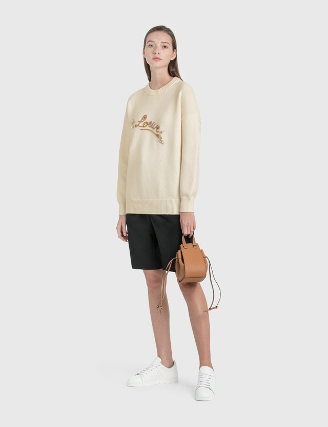 Loewe Loewe Stitch Knitted Jumper White/camel Women