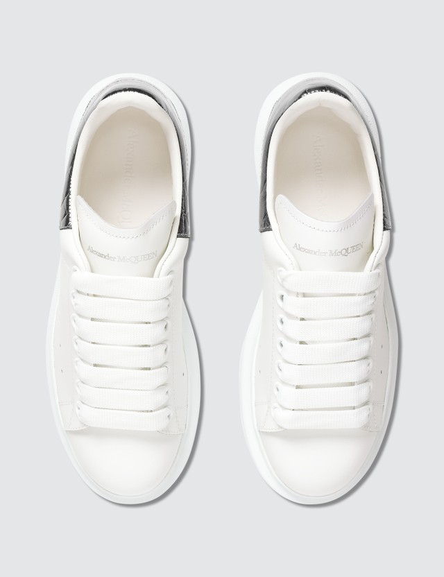 Alexander McQueen Patent Croco Leather Raised-sole Low-top Leather Trainers