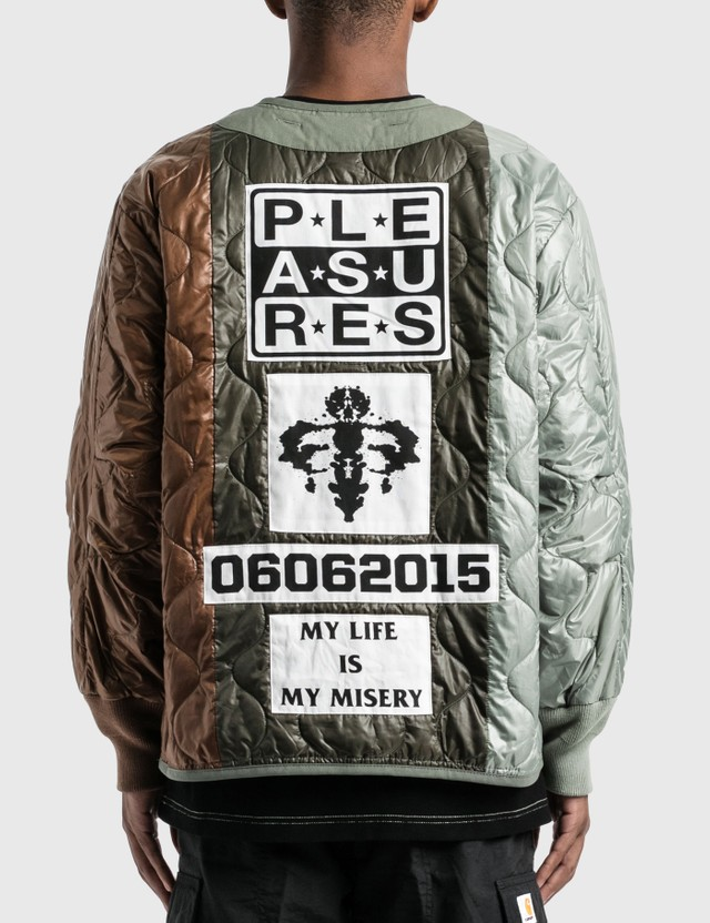 Pleasures Misery Panelled Quilted Jacket Green Men