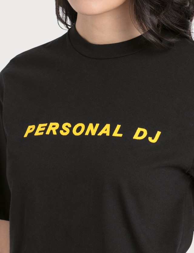 Kirin Personal DJ Flocked Cotton T-Shirt Black Yell Women