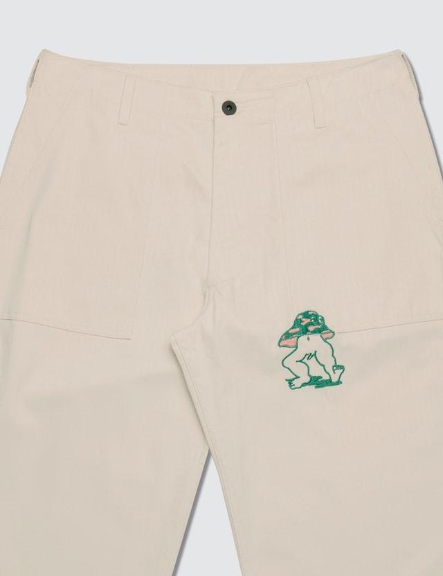 Brain Dead Mushroom Embroidery Herringbone Military Pants