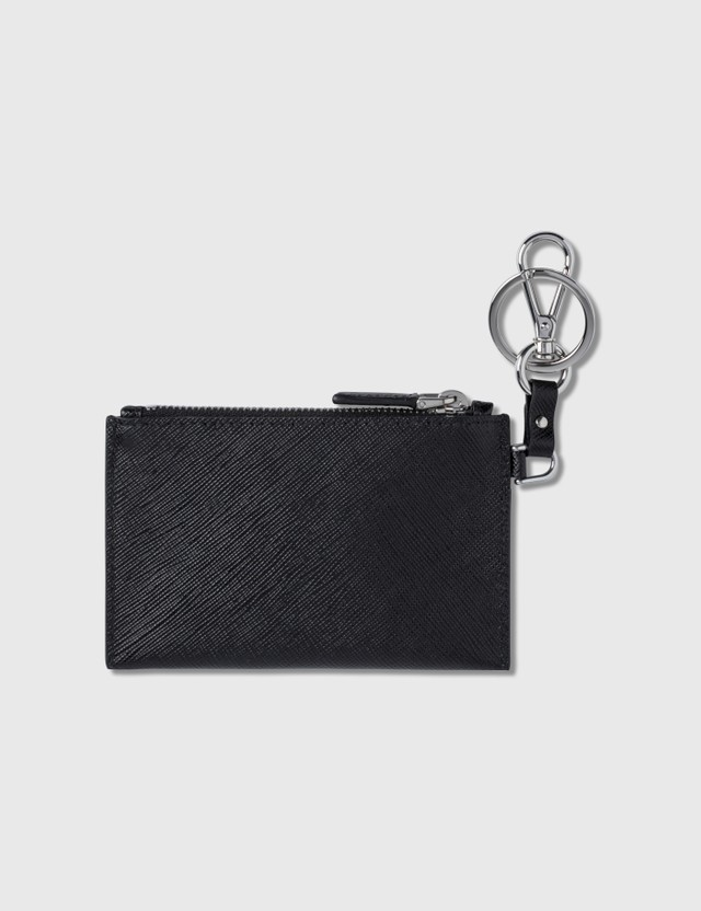 Prada Leather Logo Keychain Card Holder