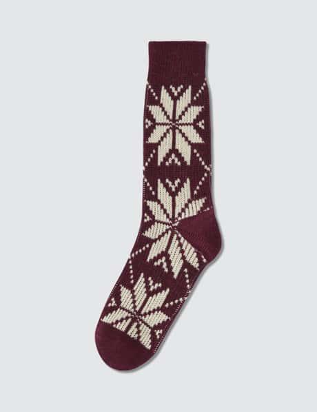 타비오 양말 Tabio Mens Wool Mixed Snow Pattern Socks