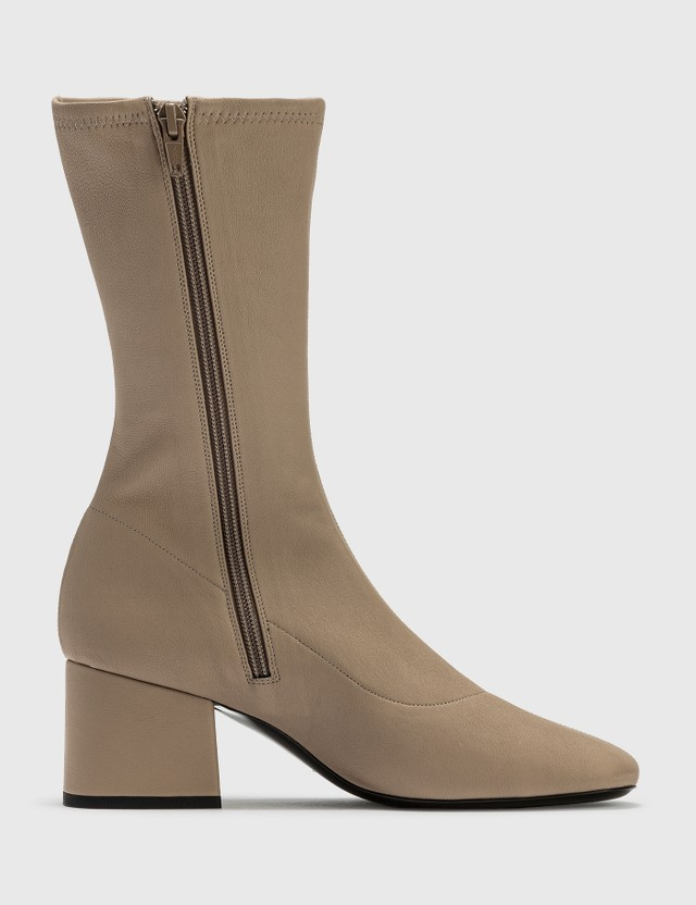 BY FAR Carlos 22 Khaki Stretch Leather Boots Khaki Women