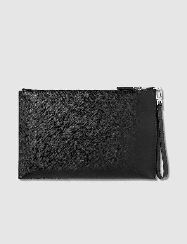 Prada Embossed Logo Safiano Leather Pouch