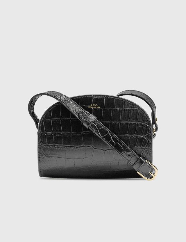 A.P.C. Demi-Lune Mini bag In Embossed Croco