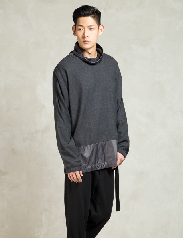 phillip lim charcoal ls funnel with adjustable hem strap pullover