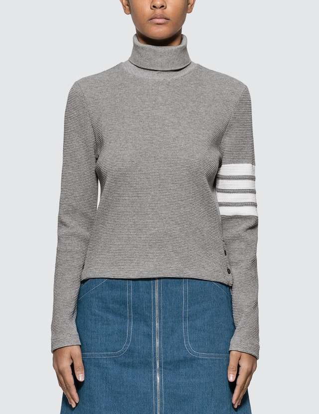 Thom Browne 4-Bar Compact Waffle Turtleneck Sweater