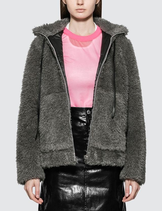 Helmut Lang Shaggy Fur Bomber Jacket