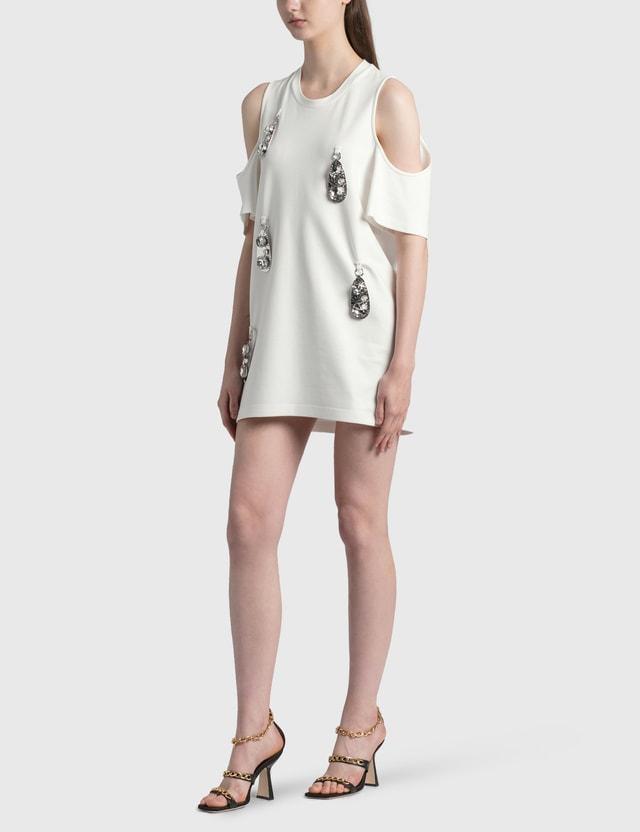 Area Cold-shoulder Pendant T-shirt Dress White Women