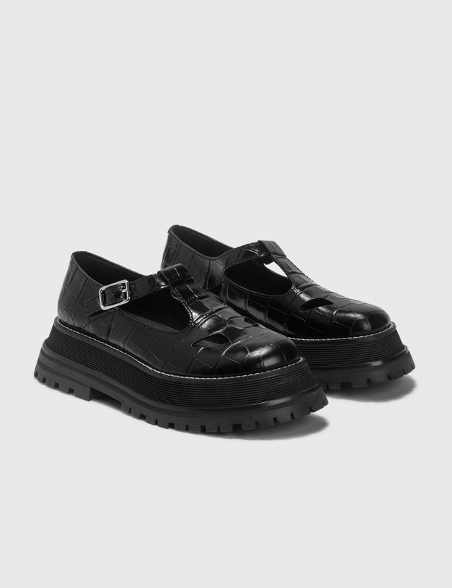 Burberry Embossed Leather T-bar Shoes