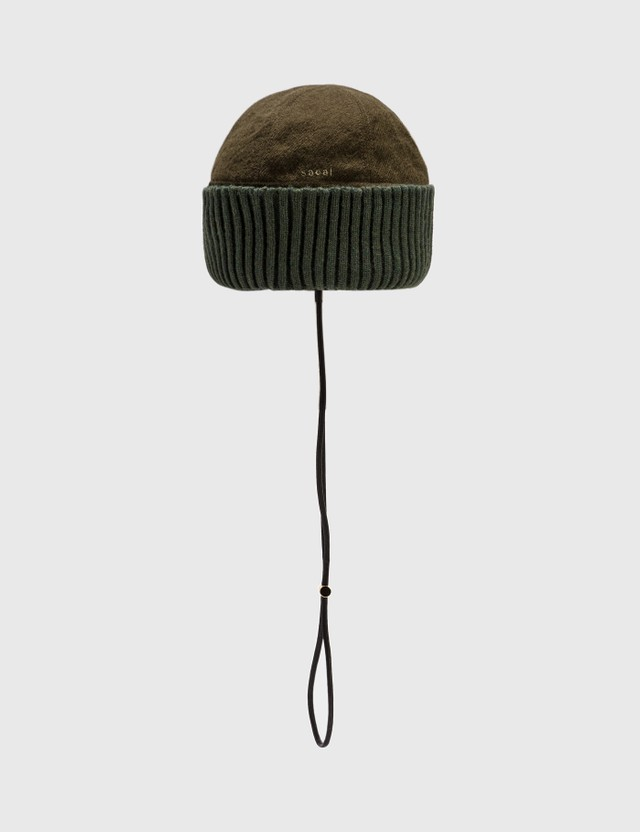 Sacai Solid Shrivel Beanie Khaki Men