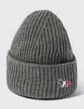 Maison Kitsune Tricolor Fox Patch Ribbed Hat 사진