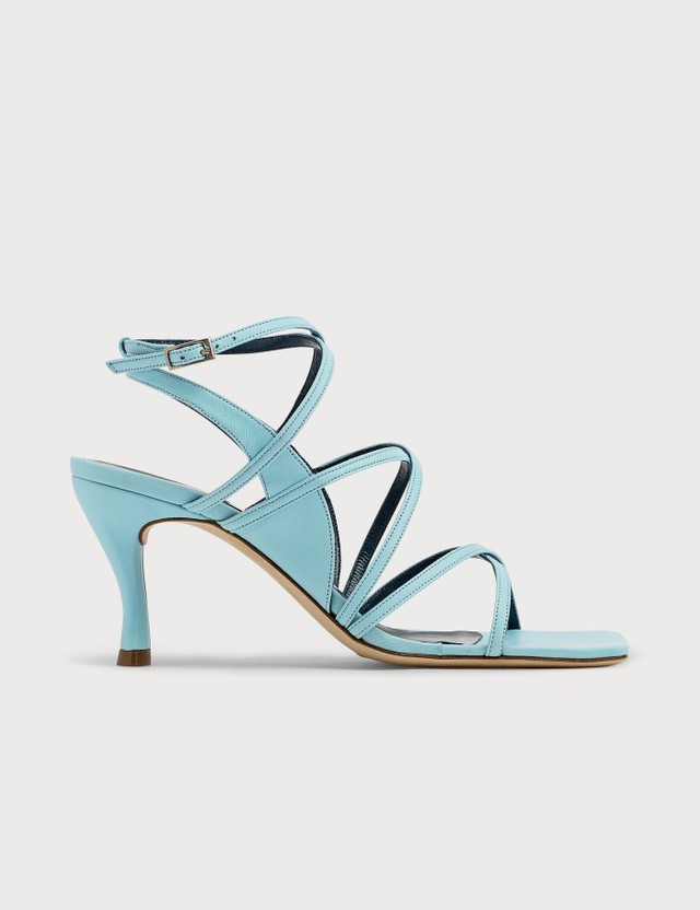 BY FAR Christina Baby Blue Leather Sandals Baby Blue Women
