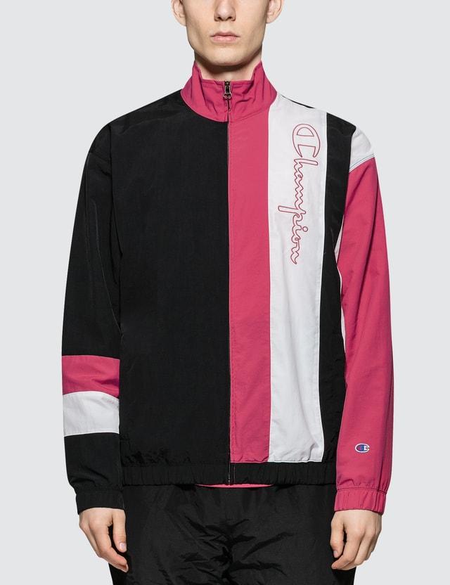 Champion Reverse Weave Script Logo  Track Jacket Black/pink/white Men