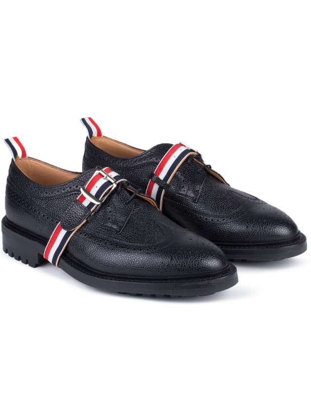 Thom Browne Pebble Grain Leather Classic Longwing Shoes with Commando Sole & Grosgrain Straps