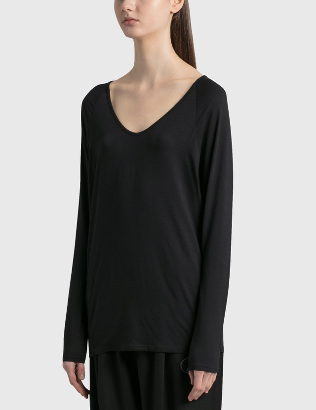 Random Identities Drapey V Neck Long Sleeve T-Shirt Black Stripe Women