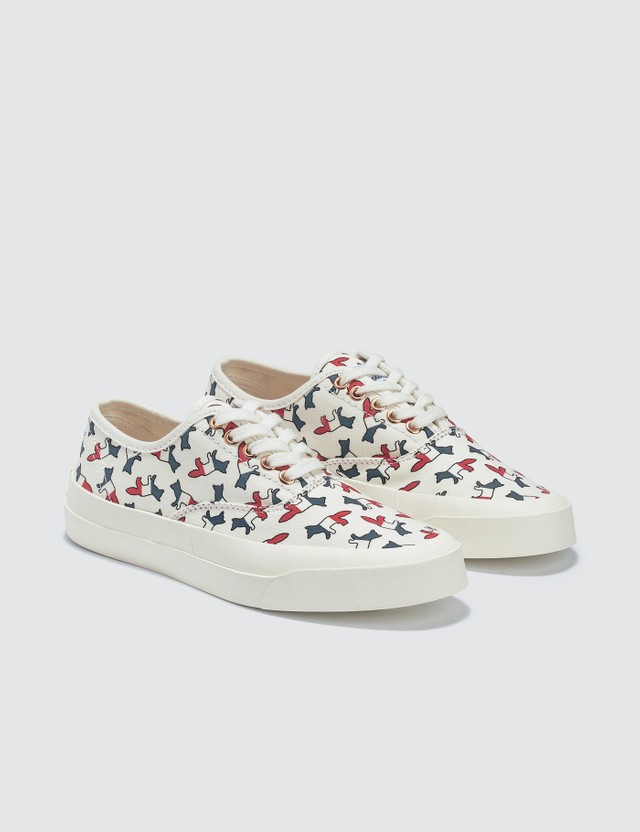 Maison Kitsune All-over Tricolor Fox Canvas Sneakers