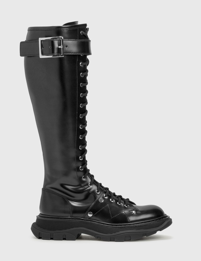 Alexander McQueen Tread Lace Up Boots Black/black/black Women