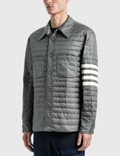 Thom Browne Fine Quilt Down Fill 4 Bar 셔츠 재킷 Med Grey Men