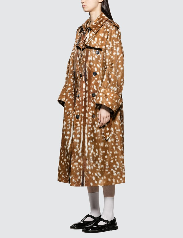 Burberry Exaggerated Cuff Deer Print Trench Coat