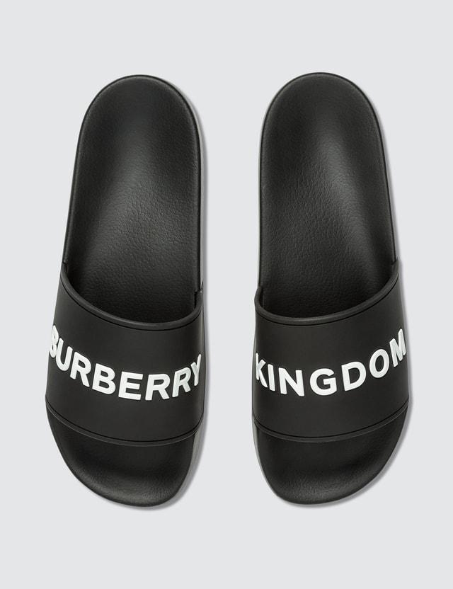 Burberry Kingdom Motif Sliders Black Women