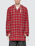 Marni Cotton Flannel Shirt With Hood Red Check Men