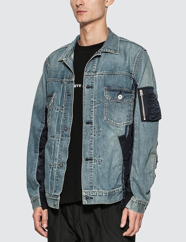 Sacai MA-1 Denim Jacket L/blue Men