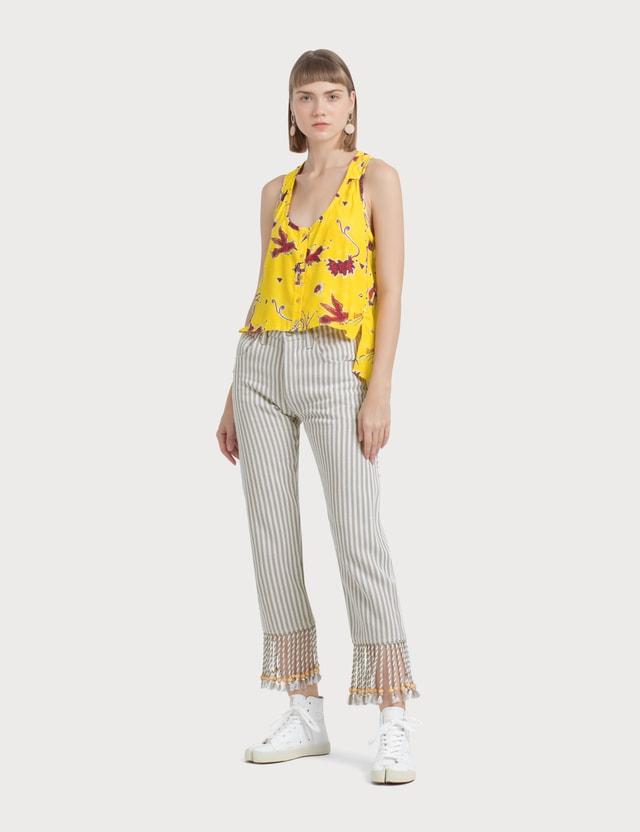 Loewe Paula Stripes 5 Pockets Pants Sand/white Women