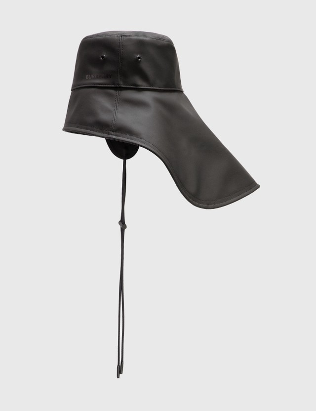 Burberry Topstitched Rubberised Cotton Fisherman Hat Black Men